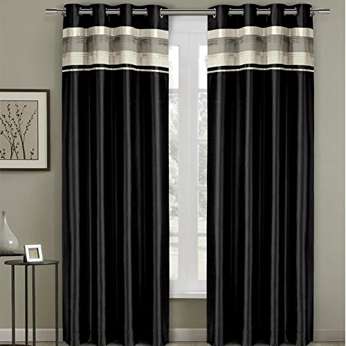 Pair of Two Top Grommet Blackout Thermal Insulated Curtain Panels, Triple-Pass Foam Back Layer, Elegant and Contemporary Milan Blackout Multilayer Energy Saving Panels, Black, Set of Two, 54