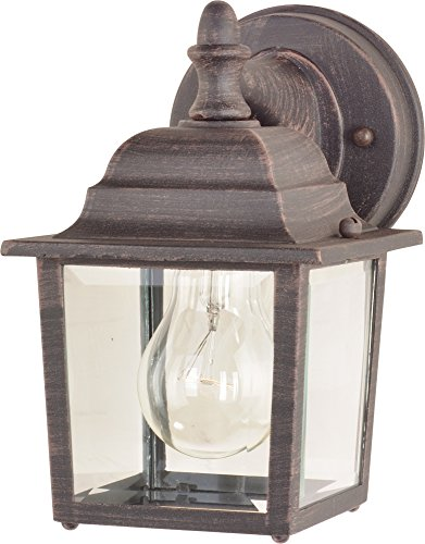 Maxim 1025RP Builder Cast 1-Light Outdoor Wall Lantern, Rust Patina Finish, Clear Glass, MB Incandescent Incandescent Bulb , 100W Max., Damp Safety Rating, 2700K Color Temp, Standard Dimmable, Glass Shade Material, 4600 Rated Lumens ()