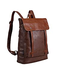 Lalawow PU Leather Backpack Fashion Daypack 14 inch Laptop Bags for College Boys Girls (Brown)