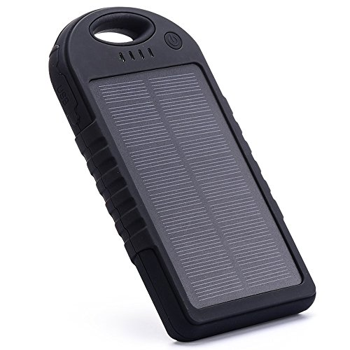 Solar Charger,EFOSHM 12000MAH Solar Power Bank Portable External Battery Capacity Backpack with 2USB Charging Port for Android/Ios Cellphones/Table (All Black)