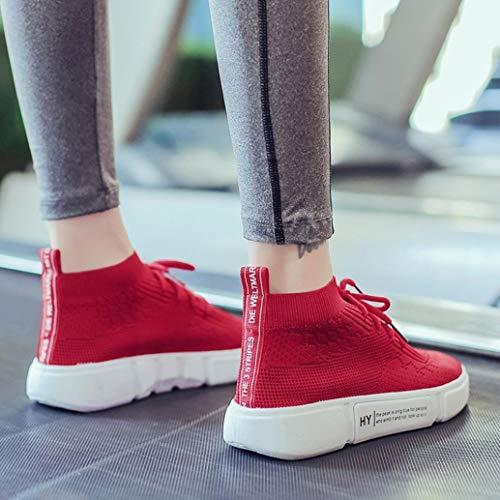 Bazhahei Respirant Chaussures 6 Lacets Mocassins Dcontractes Fille 5 Taille Souliers De Simples Baskets Rouge Femmes 3 Sport Course Toe Rsille YrqYI