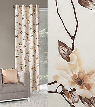 Dekorativ Vorhang Ösen 140x250 Cm ANITA Creme + Braun Wohnzimmer Magnolie  Blumen Muster Blickdicht