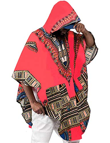 Daupanzees Unisex Long Sleeve Fashion African Dashiki Printing Shirts Men Hoodies Sweatshirts Red