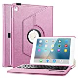 iPad Pro 9.7 Keyboard Case, BoriYuan 360 Degree Rotating Detachable Wireless Bluetooth Keyboard Folio Stand Flip PU Leather Cover for Apple iPad Pro 9.7 inch 2016 +Screen Protector+Stylus, Rose Red