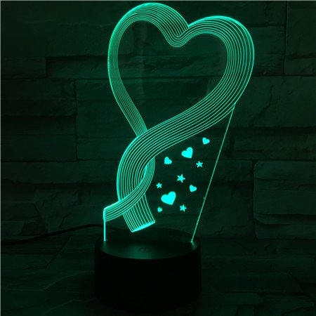 3D Illusion Love Heart Lamp with 7 Colors changing Desk Table Night Light Best Family Holiday Mother's Day Gift Theme Decoration Lighting