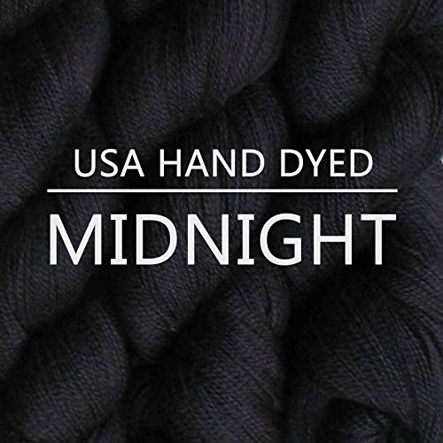 Living Dreams QUEEN ANNE LACE YARN. Luxuriously Soft Baby Alpaca Silk USA HAND DYED. Midnight (Silk Wool Yarn)
