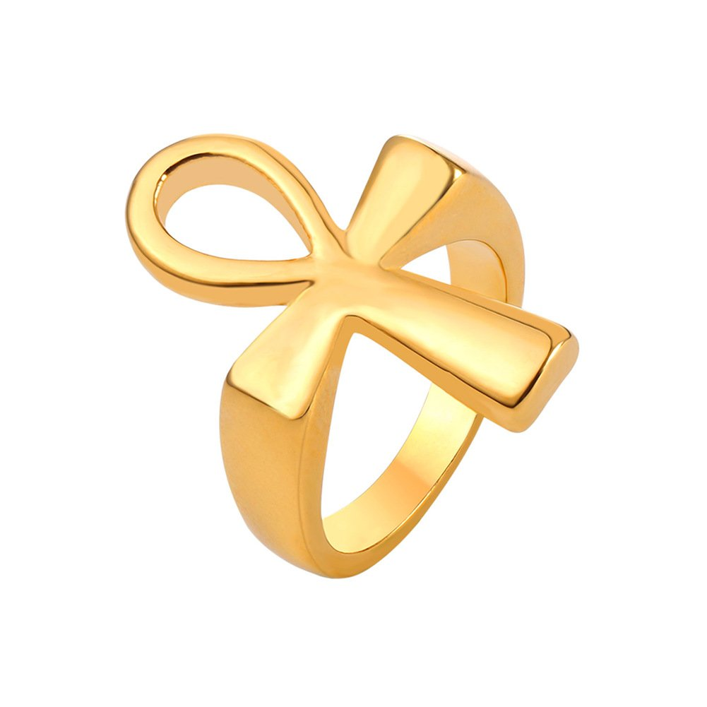 U7 Egyptian Jewelry 18K Gold Plated Cross Ankh Ring, Size 9