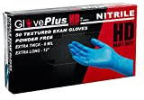 AMMEX - GPNHD66100-BX - HD Nitrile Gloves - GlovePlus - Disposable, Powder Free, Exam, 8 mil, Large, Blue (Box of 50)