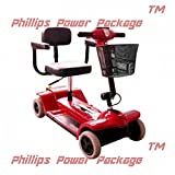 """Zip'r Mobility - Xtra Traveler - Travel Scooter - 4-Wheel - 16""""W x 14""""D - Red - PHILLIPS POWER PACKAGE TM - TO $500 VALUE"""