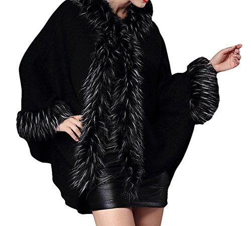 Unique Femme Cape Noir Manteau Taille Plaer 8OwApqB