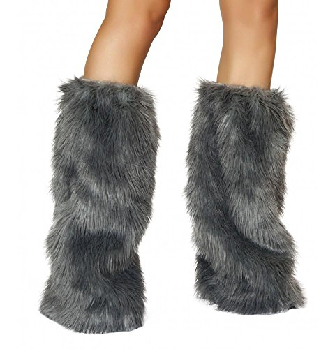 Roma Costume Women's Faux Fur Boot Covers, Grey, One Size