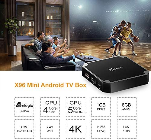 Android TV Box Media Player, X96 Mini Android 9.0 TV Box 1GB RAM 8GB ROM, Support 2.4G WiFi 100M Ethernet 3-D/4K HD HDR H.265 Android Box
