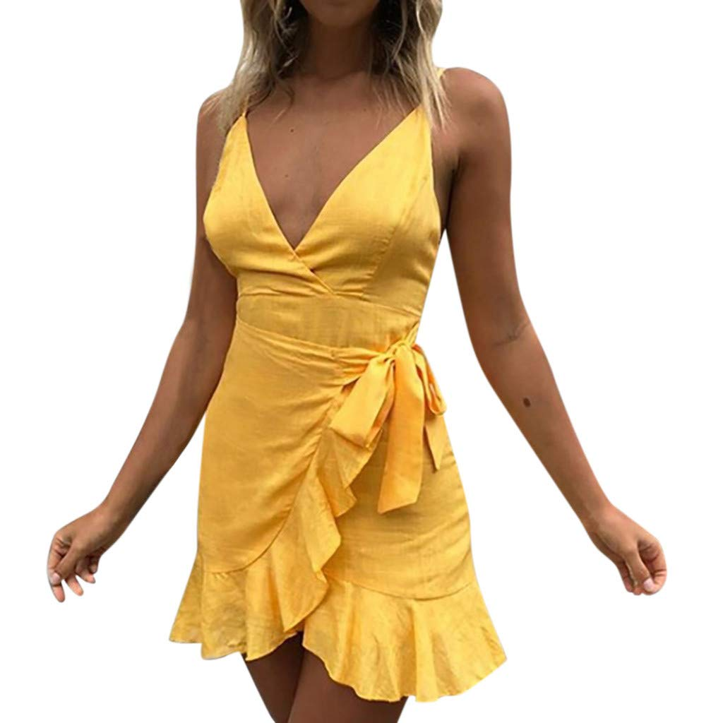 Womens Sexy Dresses Holiday Lace Up Spaghetti Dress Ladies Summer Pomisi Backless Beach Party Mini Dress Yellow