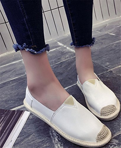 Satuki Loafer Schoenen Voor Dames, Pleather Slip Op Casual Flat Fashion Sneakers Wit