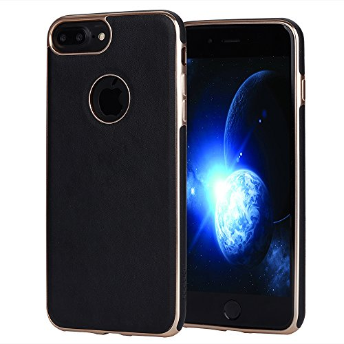 iPhone 7 Plus Case iphone 8 Plus case JOGUO (5.5inch) Black Leather Coated Matte Gold Plating TPU Case Built-in Metal Plate for Magnetic Car Phone Mount + Clear Tempered Glass Screen Protector kit