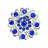 1Pc Fashion Rhinestone Pins and Brooches for Women Flower Jewelry-Available In Red, White, Pink,Dark Blue, Lighe Blue, Green (Dark Blue)