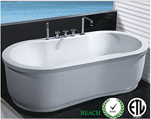 Two Jetted Tub (Freestanding Jetted Massage Hydrotherapy Bathtub, Indoor Whirlpool Hot Bath Tub)