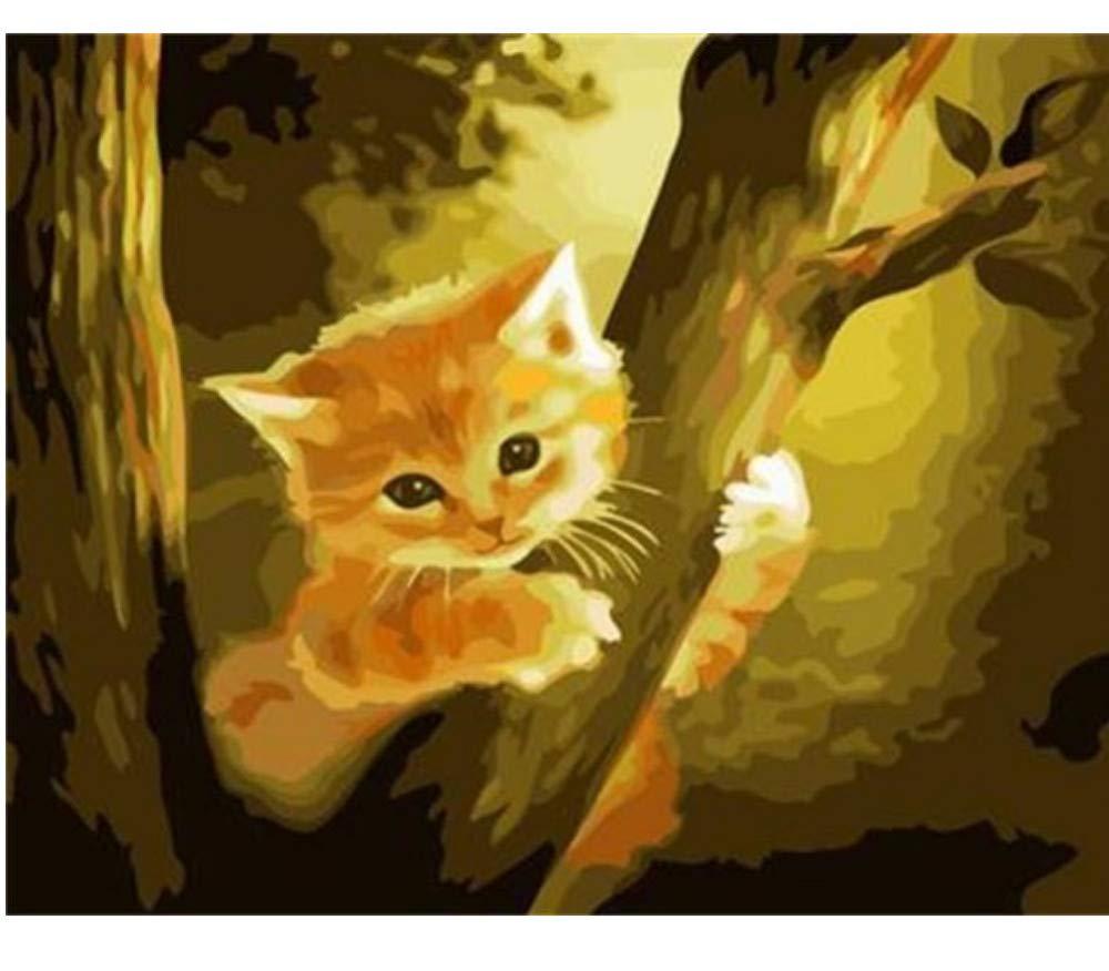 Malen Nach Zahlen Set Für Erwachsene Katze Auf Dem Baum DIY Home Dekor Malen Nach Zahlen Für Junior-Rahmen 40X50Cm B07PG4GM9K | Glücklicher Startpunkt