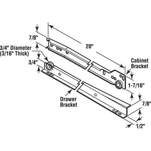 Prime Line Products R 7212 Drawer Slide Kit 19 34 In Steel