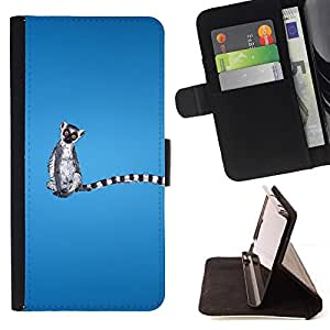 For HTC One M7 Long Tail Grey White Animal Ring Tailed Lemur Rainforest Style PU Leather Case Wallet Flip Stand Flap Closure Cover
