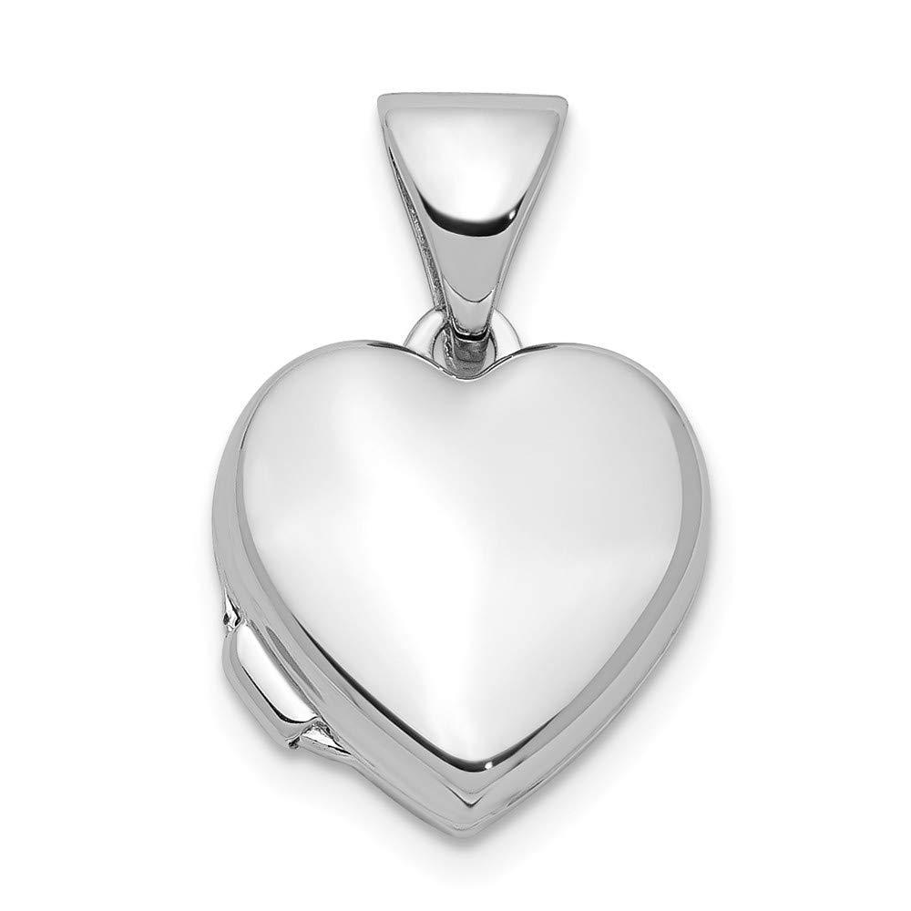 Sterling Argent rhodié poli 10mm Médaillon cœur JewelryWeb