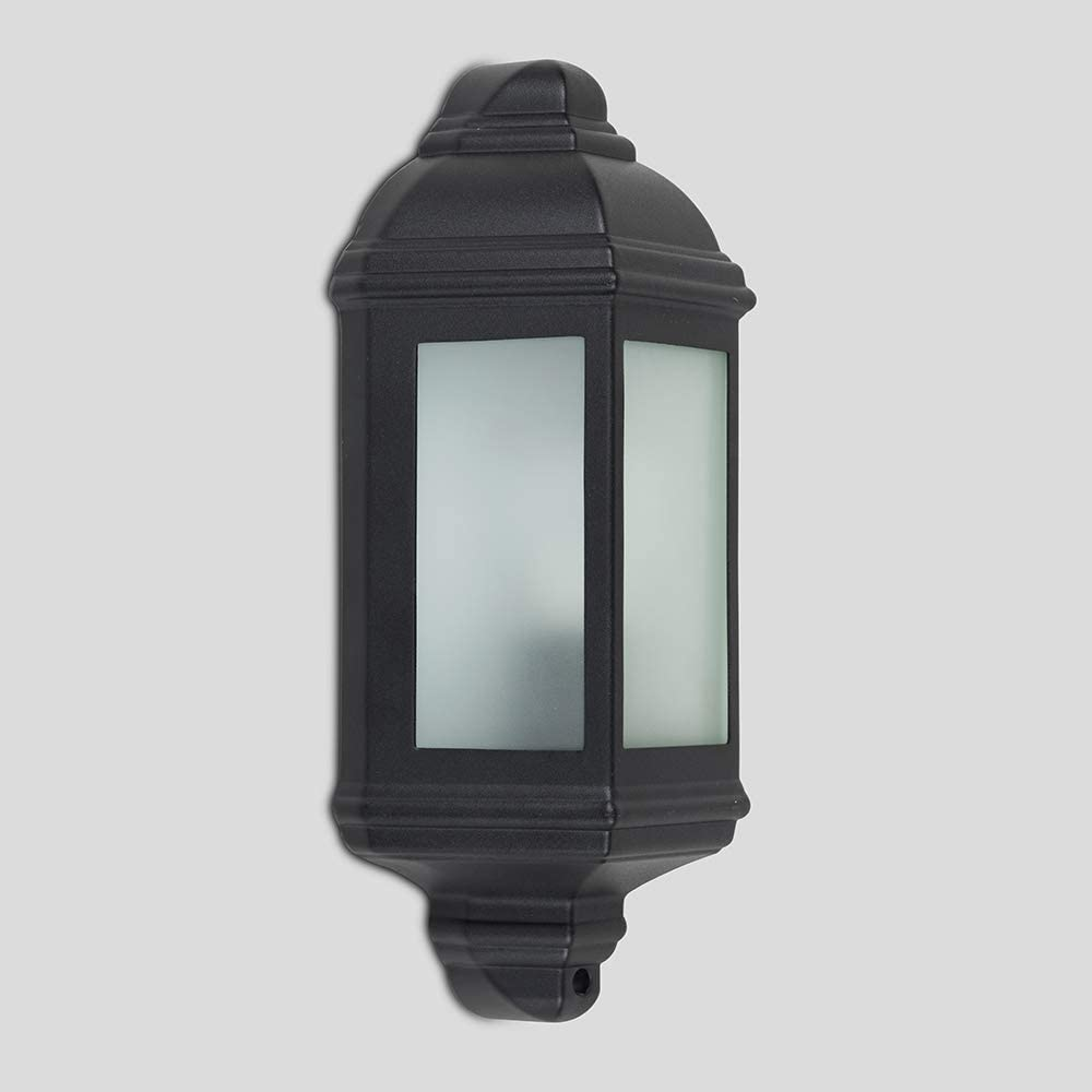 "Sturdy Clear Glass Lamp 1-Bulb Black Outdoor Porch Light 7.5/"" Aluminum Lantern"