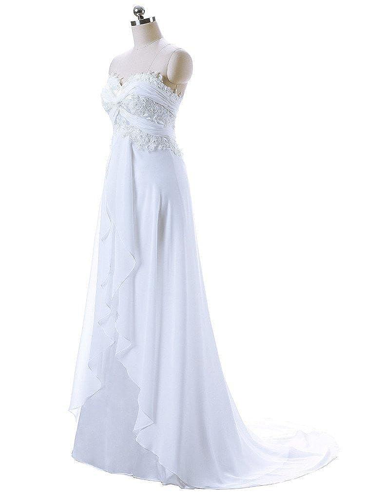 Nitree Women S Sweetheart Chiffon Long Beach Wedding Dress At