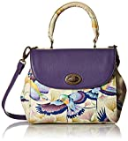 Anuschka Hand Painted Leather Women's Medium Flap Satchel, Wings Off Hope