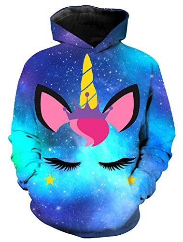 KIDVOVOU Unicorn Hoodie for Kids Unisex 3D Digital Print Pullover -
