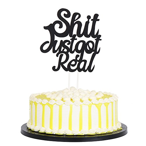 - palasasa Black Single Sided Glitter Shit Just Got Real Cake Topper - Funny Wedding, Engagement, Bachelorette,Pregnancy Announcement