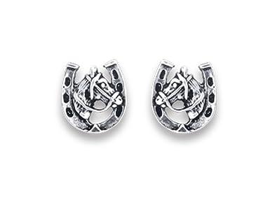 Heather Needham Sterling Silver Horseshoe Stud Earrings - SIZE: 9mm - Gift Boxed Horseshoe earrings 5033/B41HN glYeDS