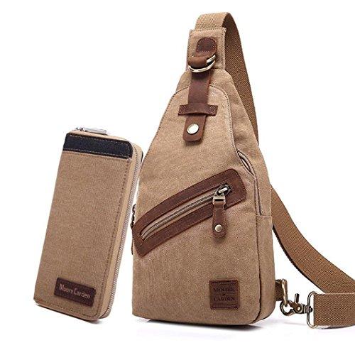 MOORE CARDEN Fashion Men's Vintage High Capacity Retro Leisure Canvas Crossbody Shoulder Messenger Bag Rucksacks Satchel Sports Hiking Bag School Book Bag Pack of Wallet (Khaki)