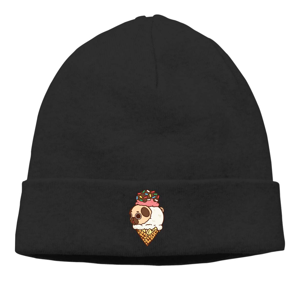 Pugs and Ice Cream Men Womens Solid Color Beanie Hat Stretchy /& Soft Winter Cap Thin