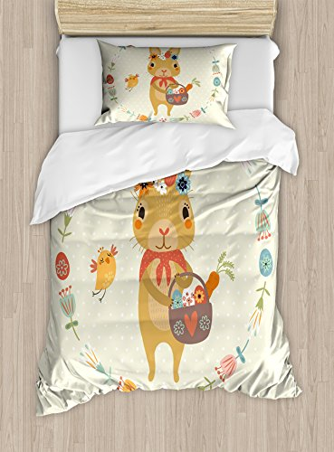 Rabbit Duvet Cover Set Twin Size by Lunarable, Bunny with a Basket in Hand and Bird inside Floral Banner Happy Easter Print Pastel, Decorative 2 Piece Bedding Set with 1 Pillow Sham, Multicolor