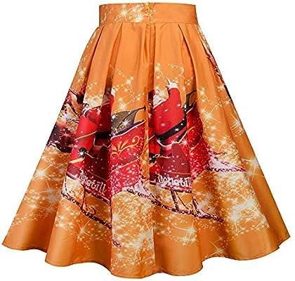 MJY Moda Falda Mujer A-Line Falda Navidad Estampado de cintura ...