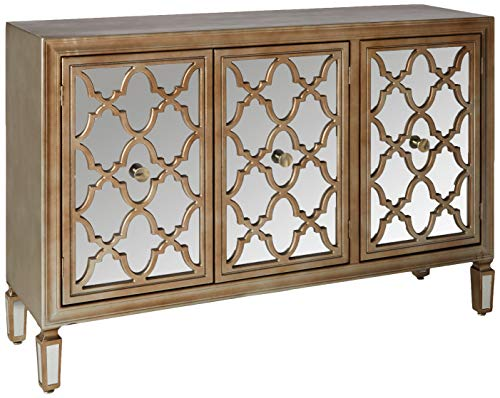 Collective Design Transitional 3 Mirrored Door Fronts-Champagne Silver Credenza