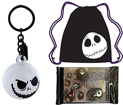 Key Jack Cute Nightmare Pack Before Christmas Skellington Bundled with Jack Draw String Tote Bag Pumpkin Head Character & Movie Pack Trading Cards & Keychain Ball Backpack Hanger 3 Items ()