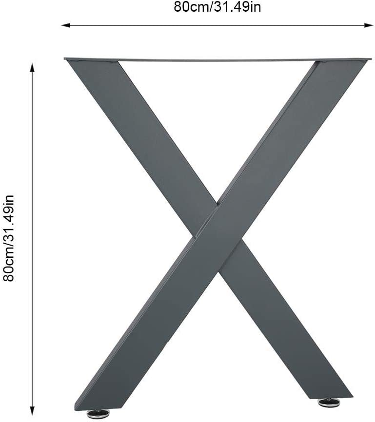 Patas de Tubo de Acero Macizo en Forma de X Patas de Mesa de Metal Plegable Patas de Mesa de Comedor 2 Patas de Muebles Grosor 4 cm Ancho 8 cm 72X60 CM