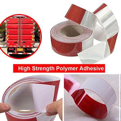 Waterproof Reflective Safety Tape Roll 2''X142' Feet Long Red White DOT C2 Auto Truck Safety Reflector Strips Self-adhesive Conspicuity Safety Hazard Caution Warning Sticker for Vehicle Car Trailer by Reliancer (Image #3)