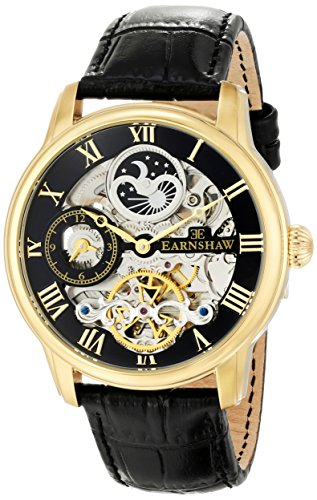 Thomas Earnshaw Men's ES-8006-05 Longitude Gold-Tone Stainless Steel Automatic Watch with Black Leather Band