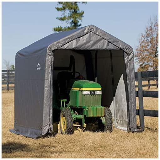 Garden and Outdoor ShelterLogic 10′ x 10′ Shed-in-a-Box All Season Steel Metal Peak Roof Outdoor Storage Shed with Waterproof Cover and… outdoor storage sheds