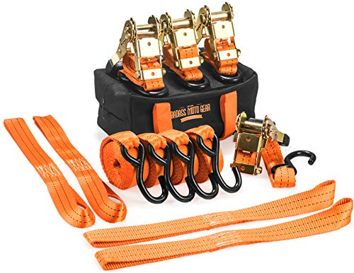 Badass Moto: 8 Pc Heavy Duty Motorcycle Tie Down Kit - Set Has 4 Padded 3,300 Lb Ratchet Straps, 4 Soft Loop Tiedowns, Storage Bag - for Towing - Trailer Motorcycles, Bikes -Trikes - ATV - UTV -Truck