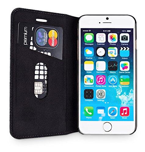 """WIIUKA Echt Ledertasche """"TRAVEL"""" Apple iPhone 8 und iPhone 7 mit Kartenfach extra Dünn Tasche Schwarz Premium Design Leder Hülle"""