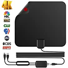 2018 New Arrival Freeview HDTV Antenna,Best 75 MILES Upgraded Lesoom TV Indoor HDTV Digital Antenna 4K HD VHF UHF with Detachable Ampliflier Signal Booster Highest Performance Cable