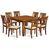 East West Furniture PFPL9-SBR-C 9 Pc Dining Set-Table with Leaf and 8 Kitchen Chairs. Review