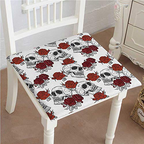 Chair Pad Soft Seat Cushion Dead Skeleton with Rose Halloween Spooky Romantic Grey Expandable Polyethylene Stuffed Machine Washable 14