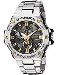 Casio Mens G-Shock Quartz Resin and Stainless Steel Dress Watch, Color:Silver-Toned (Model: GST-B100D-1A9CR)