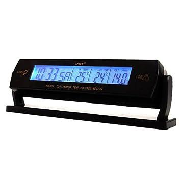 GOFORJUMP Nuevo reloj de coche Calendario InsidOutside Termómetro Medidor de voltaje Retroiluminación azul