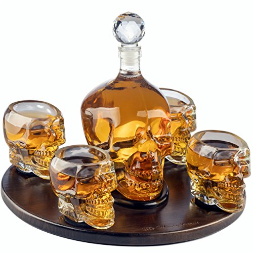 The Wine Savant Large Skull Face Decanter with 4 Skull Shot Glasses and Beautiful Wooden Base - By Use Skull Head Cup For A Whiskey, Scotch and Vodka Shot Glass, 25 Ounce Decanter 3 Ounces Shot Glass]()
