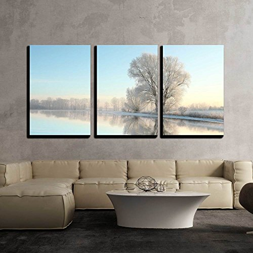 Picturesque Winter Landscape of Frozen Trees Lit by the Rising Sun x3 Panels